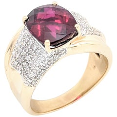 14 Karat Yellow Gold Garnet and Diamond Right Hand Ring