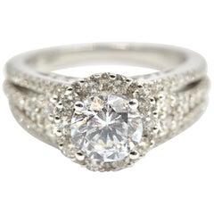 0.83 Carat Diamond and Cubic Zirconia Gregg Ruth 18 Karat Gold Semi-Mount Ring