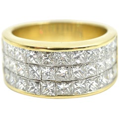 Princess Cut Diamond Invisible Set Ring 18 Karat Yellow Gold