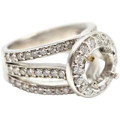 1.01 Carat Diamond 18 Karat White Gold Semi-Mount Engagement Ring