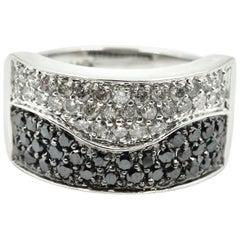 Black and White Diamonds Band 14 Karat White Gold