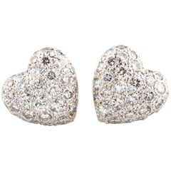 Cartier 1.00 Carat Colorless VVS Pavé Diamond 18 Karat White Gold Heart Earrings