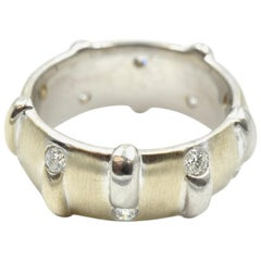 0.60 Carat Round Diamond Band 14 Karat White Gold