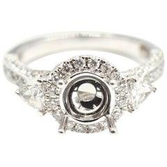0.80 Carat Diamond 14 Karat White Gold Semi-Mount Engagement Ring