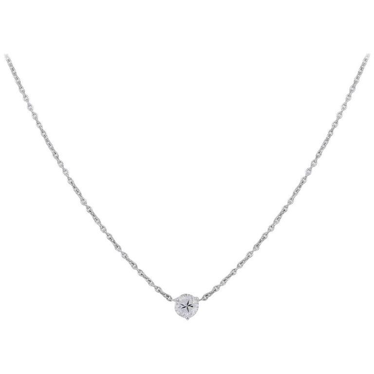 Round Brilliant Diamond Floating Pendant Necklace