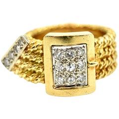 Diamond Buckle Ring 18 Karat Yellow Gold