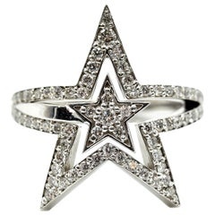1.15 Carat Diamond Star Cocktail Ring 14 Karat White Gold