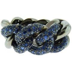 18 Karat Black Gold Sapphire Ring by Pomellato