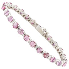 2.75 Carat Diamond and Ruby Cabochon Platinum Link Bracelet
