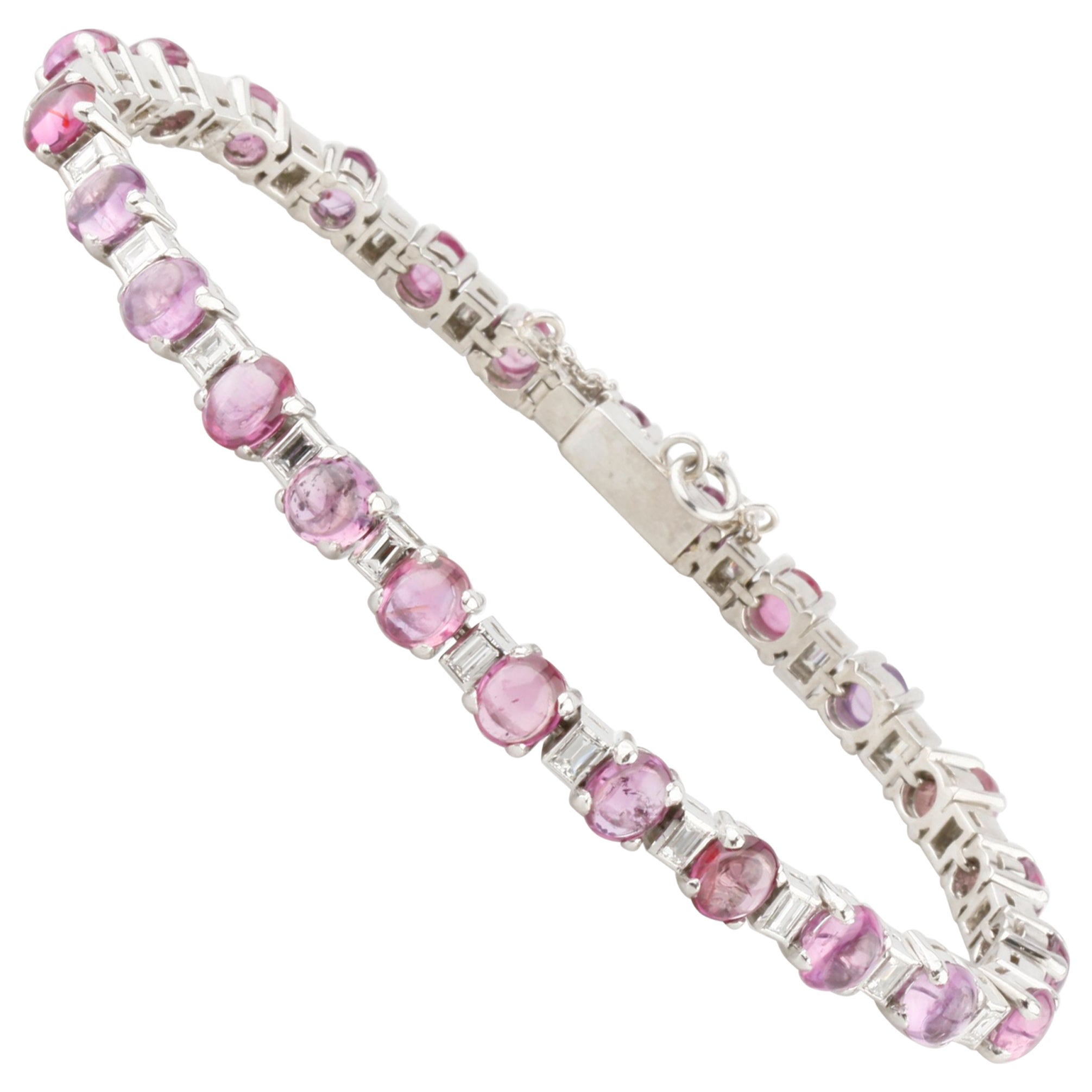 2.75 Carat Diamond and Ruby Cabochon Platinum Link Bracelet