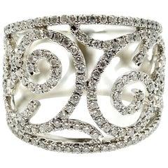 Diamond Intertwining Ring 18 Karat White Gold