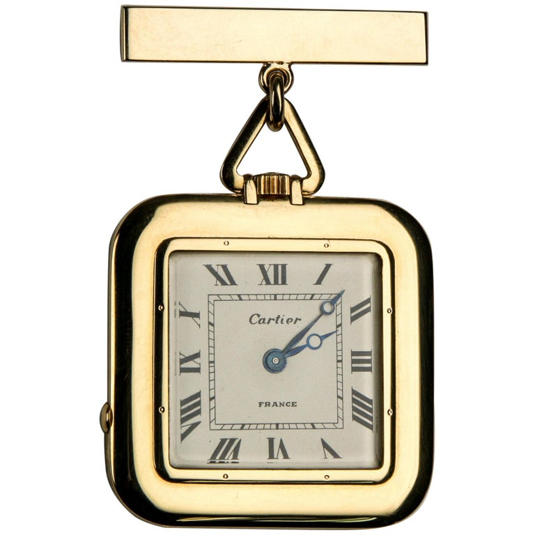 Cartier Yellow Gold Antique Square 29 Jewels Repeater Pocket Watch