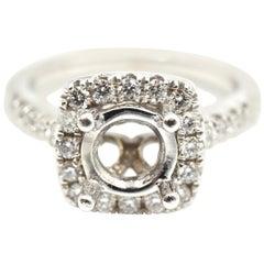 0.95 Carats Diamond 14 Karat White Gold Semi-Mount Engagement Ring