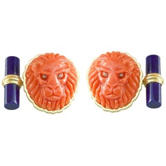Coral Lion Cufflinks in 18 Karat Yellow Gold with Diamond Lapis Lazuli