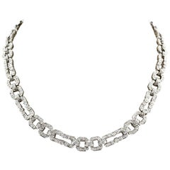 18 Karat White Gold Endless Diamond Link Necklace