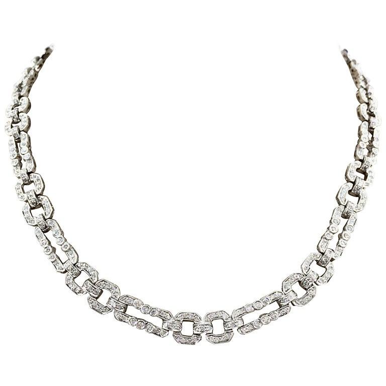 18 Karat White Gold Endless Diamond Link Necklace