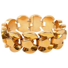 1940's 18 Karat Gold Tank Bracelet, French