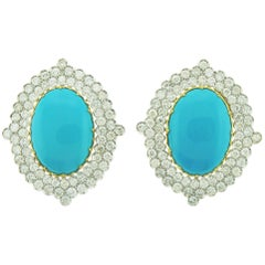 18 Karat Yellow and White Gold Earrings with Oval Turquoise and Diamonds
