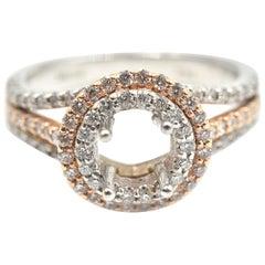 0.67 Carat Diamond 14 Karat White and Rose Gold Semi-Mount Engagement Ring