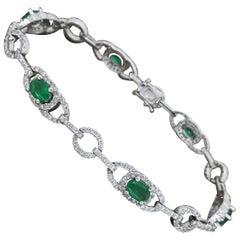 Diamond and Emerald Tennis Bracelet