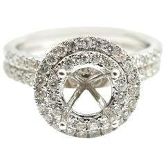 0.85 Carat Diamond 14 Karat White Gold Semi-Mount Two-Piece Ring Set