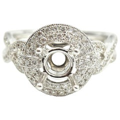 0.97 Carat Diamond 18 Karat White Gold Semi-Mount Engagement Ring