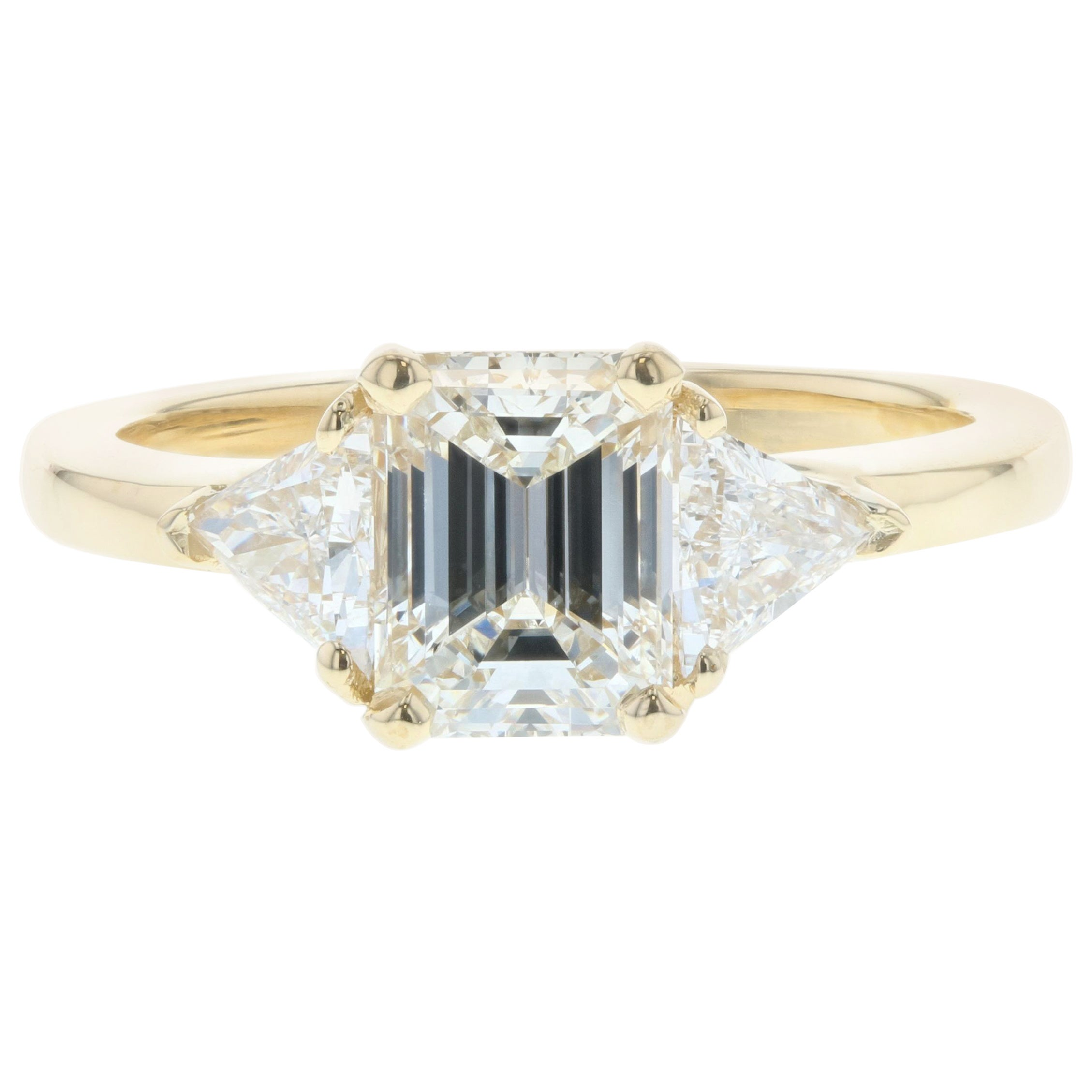 1 Carat Three-Stone Emerald Cut Diamond Engagement Ring 'GIA'