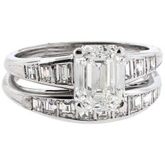 GIA Certified 1.71 H-VS2 Emerald Cut Diamond Engagement Ring with Matching Band