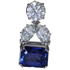 20 Carat Natural Color Change Blue Sapphire and Diamond Pendant, Ben Dannie