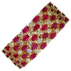 18 Karat GIA 55.25 Natural Top Gem Ruby Diamond Bracelet Hinged Blood
