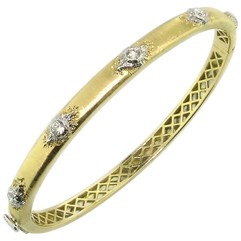 Diamond And 18 Karat Gold Floine Engraved Bangle Bracelet Made In Italy