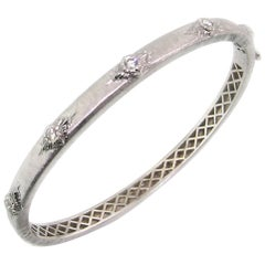 Diamond and 18 Karat Gold Florentine Engraved Bangle Bracelet, Made in Italy