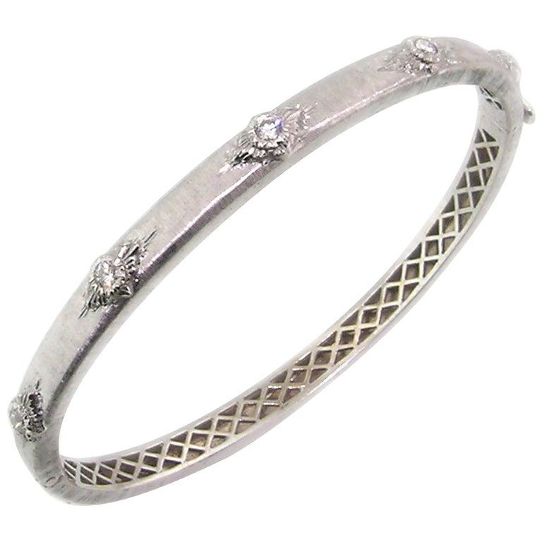 Diamond and 18 Karat Gold Florentine Engraved Bangle Bracelet, Made in Italy