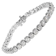 Diamond Tennis Bracelet in 14 Karat White Gold 8.64 Carat