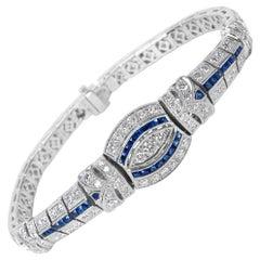 Sapphire and Diamond Bracelet in 18 Karat White Gold '4.95 Carat'
