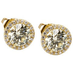 Yellow Diamond Halo Studs in 18K Gold (2.22 CTW)