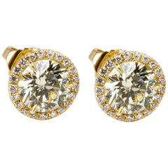Diamond Halo Studs in 18 Karat Yellow Gold (2.27 CTW)