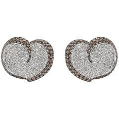 Brown and White Diamond Heart Earrings in 18 Karat White Gold 7.00 Carat