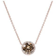 Diamond Halo Pendant in 18 Karat Pink Gold with Chain 1.67 Carat