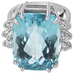 Halo Diamond and Aquamarine Fashion Ring in 14 Karat White Gold '0.60 Carat'