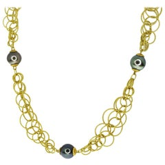 Gianmaria Buccellati Black Pearl 18 Karat Gold Hawaii Honolulu Long Necklace