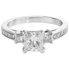 GIA Certified Three-Stone Diamond Ring in 18 Karat White Gold F VS1-1.38 Carat