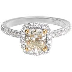 Fancy Light Yellow Green Diamond Engagement Ring 18 Karat Gold '1.41 Carat'