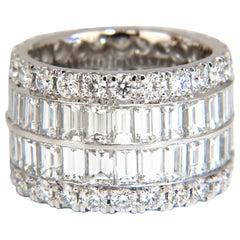 12.98 Carat Natural Diamonds Eternity Ring E/Vs Revolver Grand 18 Karat Sandwich