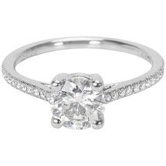 Round Cut Diamond Engagement Ring Set in Platinum 1.20 Carat