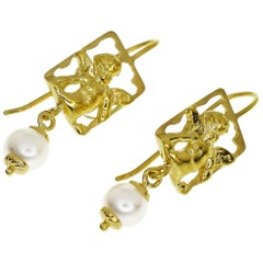 Tagliamonte 18 Karat Yellow Gold Vicenza Angel Pearls Stud Earrings