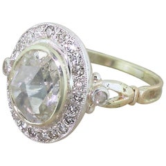 Victorian 2.19 Carat Rose Cut Diamond Cluster Ring, circa 1890