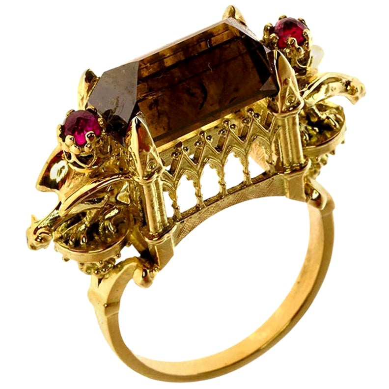 Ritual Cathedral Ring in 18 Karat Yellow Gold, Cognac Diamond and Rubies
