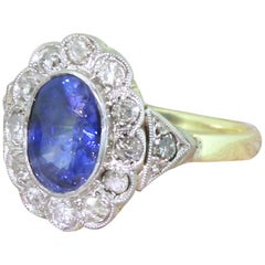 Art Deco 1.80 Carat Sapphire and Old Cut Diamond Cluster Ring, circa 1935