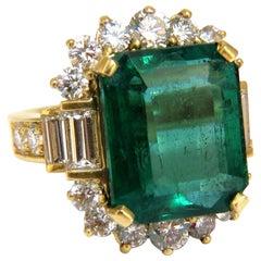 "GIA Certified 17.60 Carat Natural Green Emerald Diamonds Ring 18 Karat ""F1"""